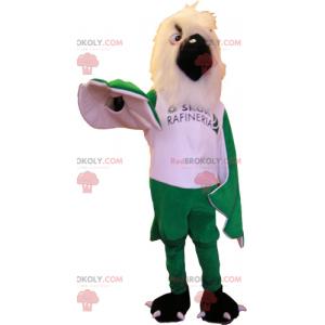 Maskot bílý pták a zelená křídla - Redbrokoly.com