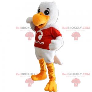 Maskotka biały ptak i czerwona koszulka - Redbrokoly.com