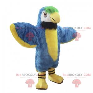 Mascote papagaio azul e amarelo - Redbrokoly.com