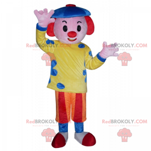Mascota de personaje de circo - Payaso con boina -