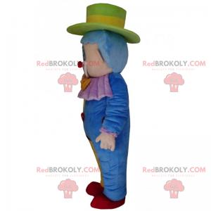 Mascota de personaje de circo - payaso multicolor -