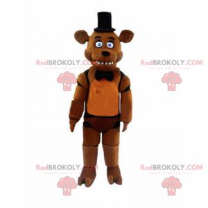 Maskot kresba postavy anime - medvěd s kloboukem -