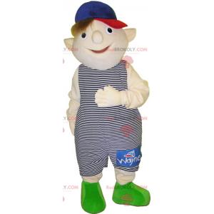 Mascot little boy in overalls - Redbrokoly.com