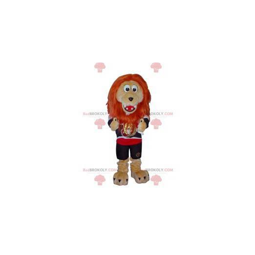 Beżowy lew maskotka z pomarańczową grzywą - Redbrokoly.com
