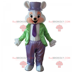 Mouse mascot in green and purple magician outfit -