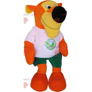 Mascote tigre laranja com camiseta e shorts - Redbrokoly.com