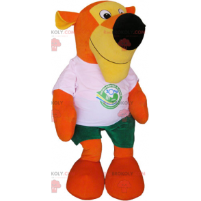 Orange tiger mascot with t-shirt and shorts - Redbrokoly.com