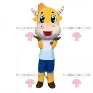 Żółta krowa maskotka i pasiaste rogi - Redbrokoly.com