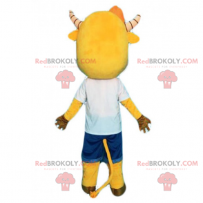 Yellow cow mascot and striped horns - Redbrokoly.com