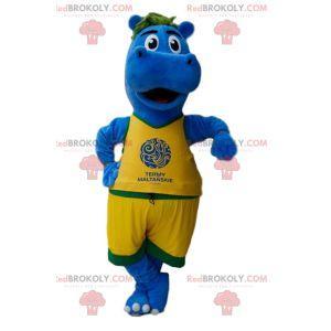 Mascote hipopótamo azul em roupas esportivas