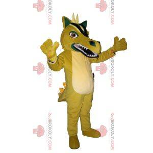 Mascote dragão amarelo descontente com chifres brancos