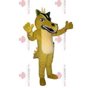 Nespokojený žlutý drak maskot s bílými rohy