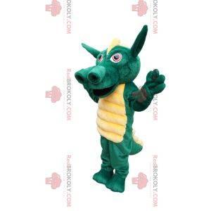 Mascota del dragón verde con una hermosa cresta amarilla