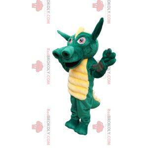 Mascotte drago verde con una bella cresta gialla