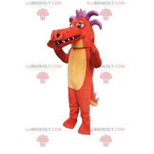 Oranje draak mascotte, met paarse hoorns!