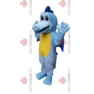 Mascota dragón azul y amarillo con alas pequeñas