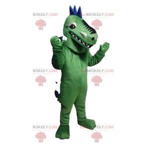 Mascote de dinossauro verde e azul. Fantasia de dinossauro
