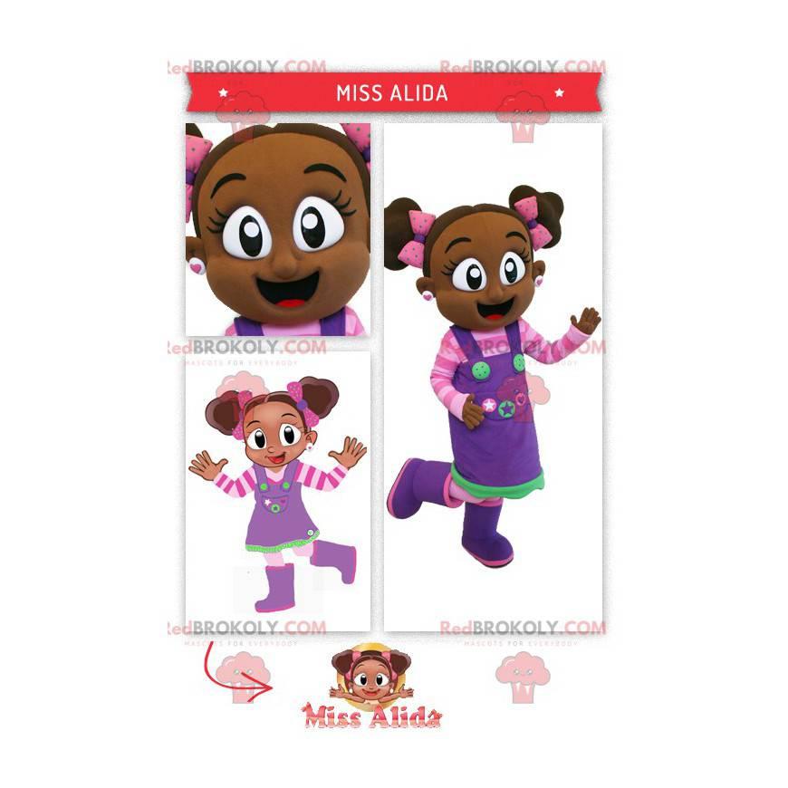 Afrikansk jente maskot i rosa og lilla antrekk - Redbrokoly.com