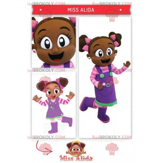 Afrykańska dziewczyna maskotka w różowym i fioletowym stroju -