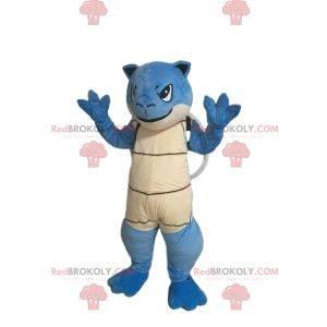 Blaues Schildkrötenmaskottchen mit einer braunen Schale