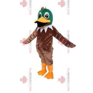 Mascote de pato verde e marrom muito feliz. Fantasia de pato