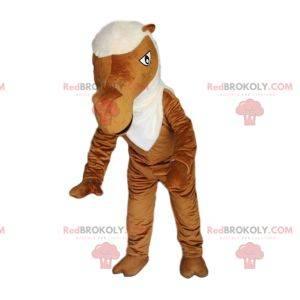 Mascotte cammello marrone con una criniera bianca