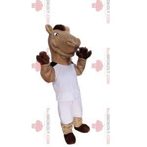 Beige and brown horse mascot in white sportswear