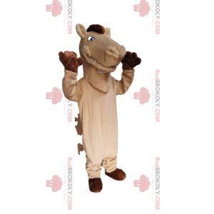 Béžový maskot koně s hnědou hřívou