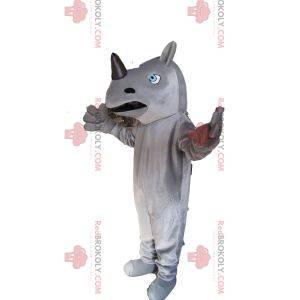 Maskot šedý a černý nosorožec se vznešenými modrými očima