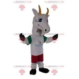 Mascotte di capra in abbigliamento sportivo