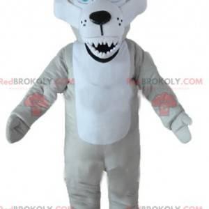 Šedý a bílý vlk maskot s modrýma očima a ošklivým vzhledem -