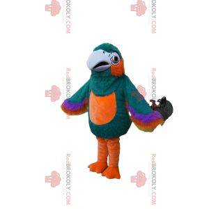Mascote papagaio maravilhoso e multicolorido