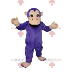Lilla og brun ape maskot. Apen kostyme