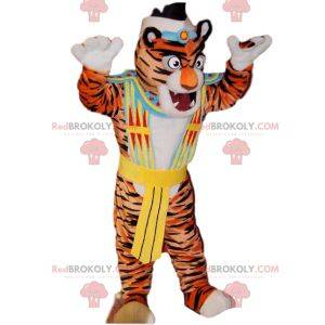 Tiger mascot with a Native American costume