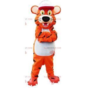 Tiger maskot med hvit hette