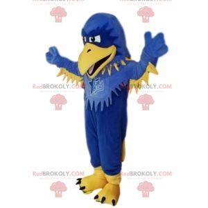 Maskottchen blauer und gelber Adler, mit Volants. Adler Kostüm