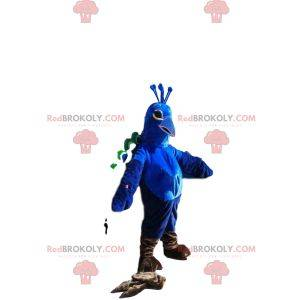 Blue peacock mascot with a sublime green tail