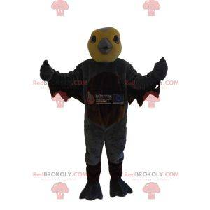 Bird mascot with a yellow head and a gray beak