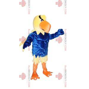 Yellow eagle mascot with a blue jersey