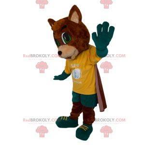Fox maskot med sportsklær og kappe