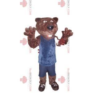 Braunbärenmaskottchen in blauer Sportbekleidung