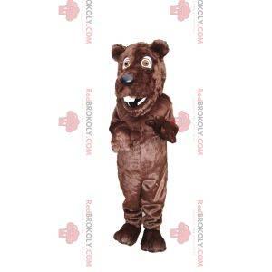 Sehr fröhliches Braunbärenmaskottchen mit einer schönen schwarzen Schnauze