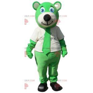 Grønn bjørnemaskot med slips