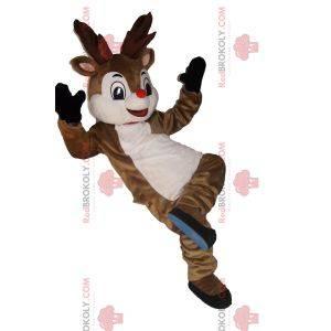Mascot feliz reno con una pequeña nariz roja