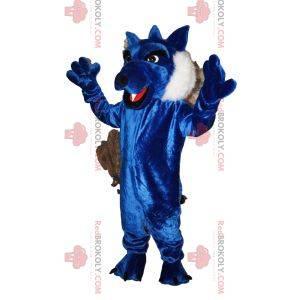 Mascotte lupo blu con una bella pelliccia. Costume da lupo