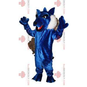 Maskot modrý vlk s krásnou srstí. Vlčí kostým