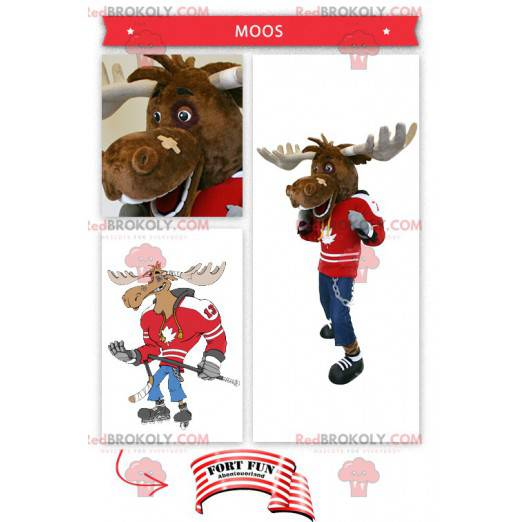 Hockeyspiller caribou maskot - Redbrokoly.com