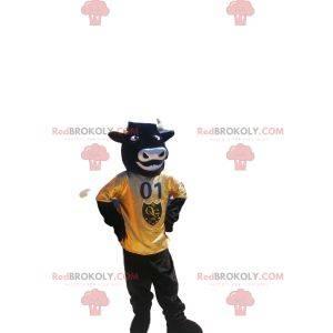 Zeer enthousiaste stier mascotte met gele trui
