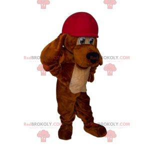 Long-eared dog mascot with cap