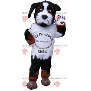 Aggressive black and white dog mascot